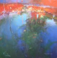 Red moon over the pond at Poldhu abstract seascape