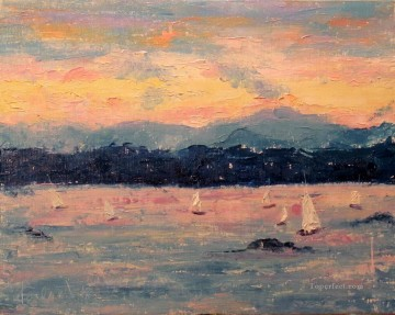 Sailing at Sunset near the Cascades abstract seascape Oil Paintings