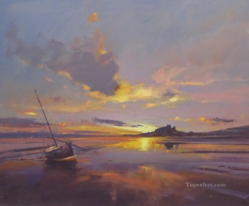 Seascape Painting - Sunrise over Bamburgh Castle Northumberland abstract seascape