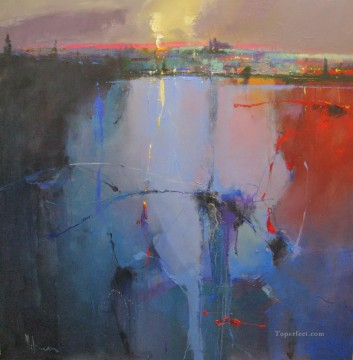 Sunset over Prague Castle abstract seascape Oil Paintings