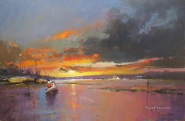 Sunset over the Estuary abstract seascape Oil Paintings