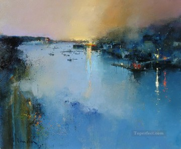 The Onset of Dusk Fowey abstract seascape Oil Paintings