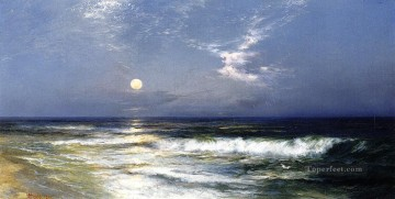 Seascape Painting - Thomas Moran Moonlight Seascape