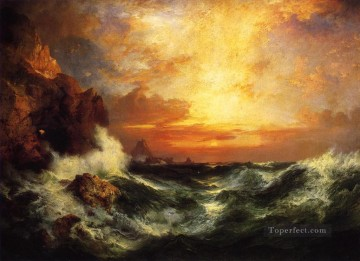 Thomas Moran Sunset near Lands End Cornwall Ocean Waves Oil Paintings