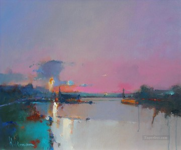 dawn over hammersmith abstract seascape Oil Paintings