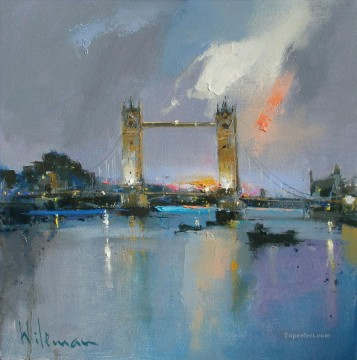 Dawn Painting - dawn tower bridge abstract seascape