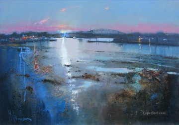 Seascape Painting - dusk hamworthy poole abstract seascape