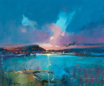 harbour lights coming home abstract seascape Oil Paintings