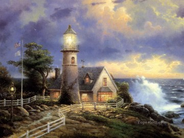 Seascape Painting - A Lighthouse In The Storm Thomas Kinkade seascape