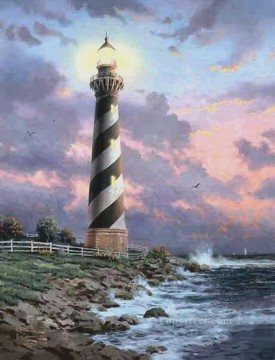 Seascape Painting - Cape Hatteras Lighthouse Thomas Kinkade seascape