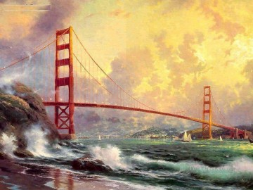 Seascape Painting - Golden Gate Bridge San Fra Thomas Kinkade seascape