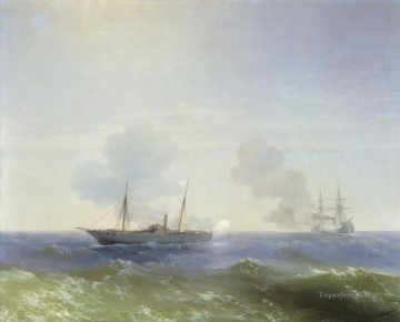 Ivan Aivazovsky battle of steamship vesta and turkish ironclad Seascape Oil Paintings
