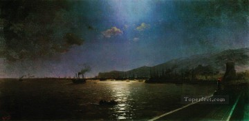 Seascape Painting - Ivan Aivazovsky first train in feodosia Seascape