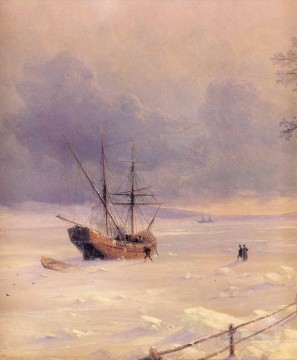 Seascape Painting - Ivan Aivazovsky frozen bosphorus under snow Seascape