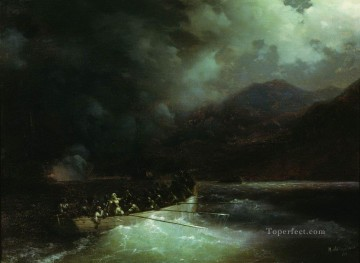 hero beijing opera jacky chen Painting - Ivan Aivazovsky heroine bobolina with hunters breaks under a hail of shots on a boat through the turkish fleet Seascape