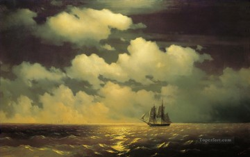 Seascape Painting - Ivan Aivazovsky meeting of the brig mercury with the russian squadron after the defeat of two turkish Seascape