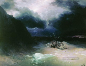 Seascape Painting - Ivan Aivazovsky sailing in a storm Seascape