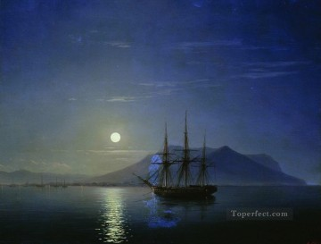 Ivan Aivazovsky sailing off the coast of the crimea in the moonlit night Seascape Oil Paintings