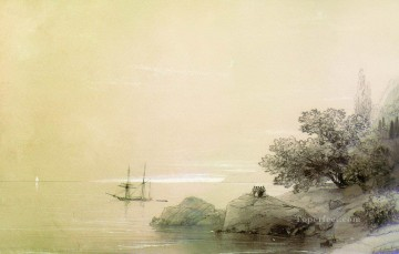 Seascape Painting - Ivan Aivazovsky sea against a rocky shore Seascape