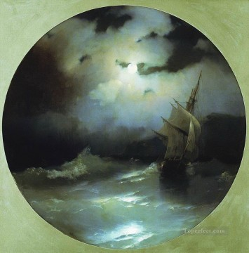 Seascape Painting - Ivan Aivazovsky sea on a moonlit night Ocean Waves