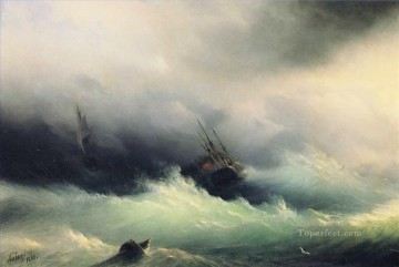 Ivan Aivazovsky ships in a storm 1860 Ocean Waves Oil Paintings