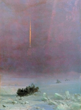 Ivan Aivazovsky st petersburg the ferry across the river 1870 Seascape Oil Paintings