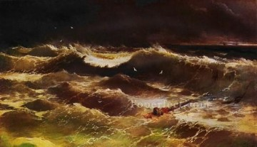 Ivan Aivazovsky storm night seascape Oil Paintings