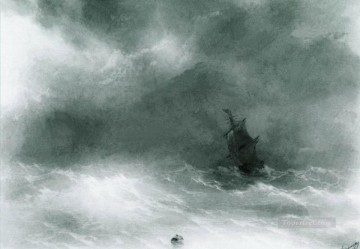 Seascape Painting - Ivan Aivazovsky strong wind Seascape
