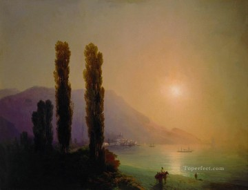 Ivan Aivazovsky sunrise on the coast of yalta Seascape Oil Paintings