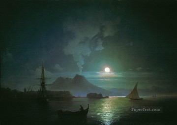 Naples Canvas - Ivan Aivazovsky the bay of naples at moonlit night vesuvius Seascape