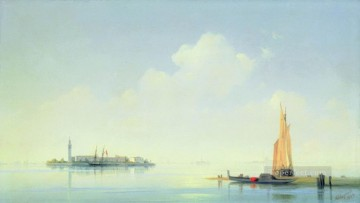 Harbour Painting - Ivan Aivazovsky the harbour of venice the island of san georgio Seascape