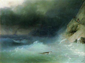 Ivan Aivazovsky the tempest near rocks Seascape Oil Paintings