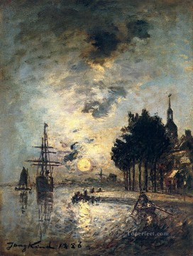 Johan Barthold Jongkind Clair De Lune seascape Oil Paintings
