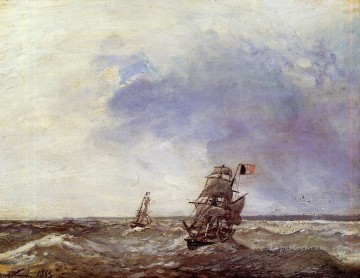 Johan Barthold Jongkind Ships at Sea ship seascape Oil Paintings