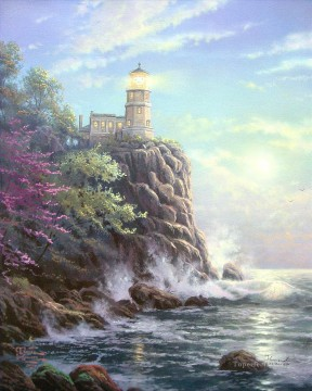 Seascape Painting - Split Rock Lighthouse Thomas Kinkade seascape