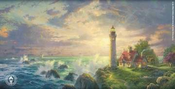 The Guiding Lighthouse Thomas Kinkade seascape Oil Paintings