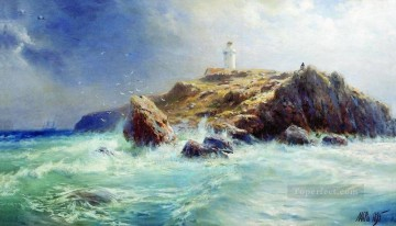 a lighthouse 1895 Lev Lagorio marine seascape Oil Paintings