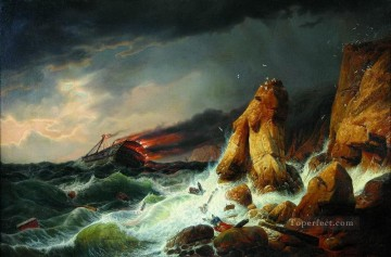 shipwreck 1850 Alexey Bogolyubov seascape Oil Paintings