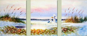 agp0719 panel triptych seascape Oil Paintings