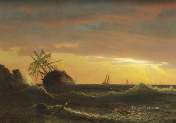 BEACHED SHIP American Albert Bierstadt marine seascape Oil Paintings