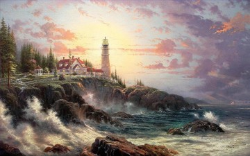 outdoor landscape landscapes scenery scenes impasto kinkade venice seascape street Painting - Clearing Storms Thomas Kinkade Lighthouse seascape