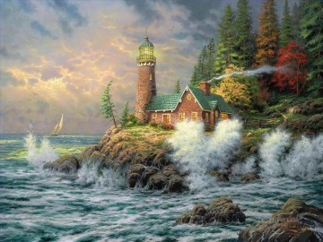 outdoor landscape landscapes scenery scenes impasto kinkade venice seascape street Painting - Courage Thomas Kinkade Lighthouse seascape
