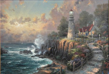 Seascape Painting - The Lighthouse Of Peace Thomas Kinkade seascape