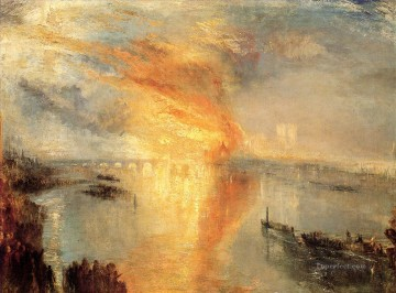 Turner The burning of the house of Lords and commons seascape Oil Paintings