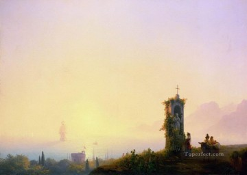 Seascape Painting - Ivan Aivazovsky chapel on seashore Seascape