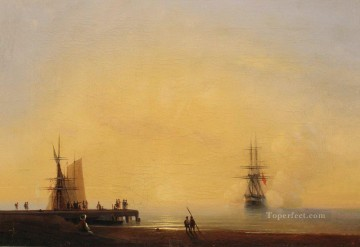 Seascape Painting - Ivan Aivazovsky evening on the roads Seascape