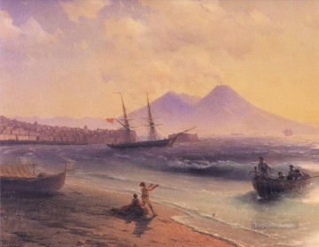 Naples Canvas - Ivan Aivazovsky fishermen returning near naples 1874 Seascape