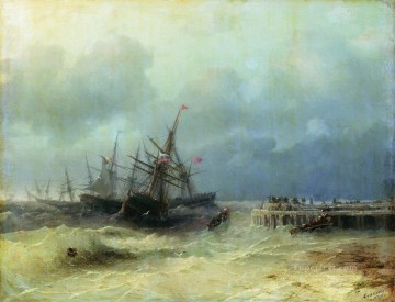 Seascape Painting - Ivan Aivazovsky fleeing from the storm Seascape