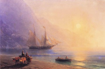 Seascape Painting - Ivan Aivazovsky loading provisions off the crimean coast Seascape