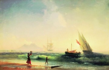 Seascape Painting - Ivan Aivazovsky meeting of a fishermen on coast of the bay of naples Seascape